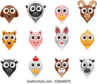 vector farm animals pointer icons - Separate layers for easy editing