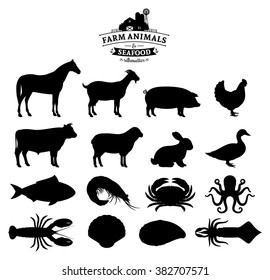 Vector farm animals and seafood silhouettes isolated on white.