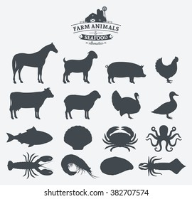Vector farm animals and seafood silhouettes collection.