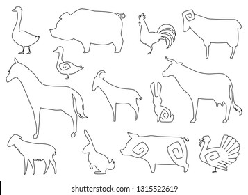 Vector Farm Animals Silhouettes for coloring book Isolated on White.