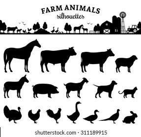 Vector farm animals silhouettes isolated on white. Livestock and poultry icons. Rural landscape with trees, plants and farm