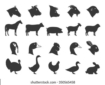 Vector farm animals silhouettes isolated on white. Livestock and poultry icons collection