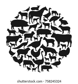 Vector farm animals silhouettes isolated on white. Livestock and poultry icons