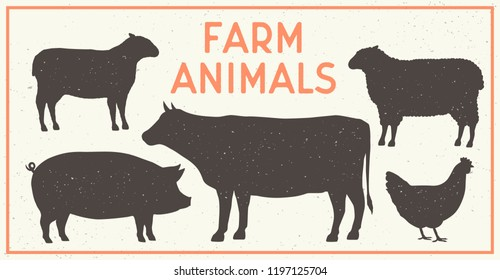 Vector Farm Animals Vintage Set. Silhouettes of Cow, Pig, Sheep, Lamb, Hen. Farm Animals icons isolated on white background. Design elements for emblem, poster, label. Grunge texture.