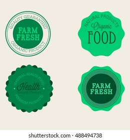 Vector farm badge set of Fresh Organic elements. Vintage style labels for natural food and drink, products, biodynamic agriculture, on the nature background. Collection 100% bio, eco, healthy stickers
