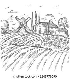 Vector Farm Engraved Style Drawing, gray Lines on White