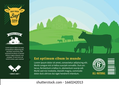 Vector farm fresh beef illustration. Rural landscape with cows, calves and farm. Butcher shop or cattle farming packaging and advertising design elements