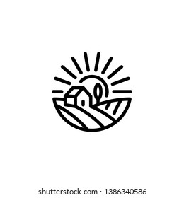 Vector farm house icon template. Linear organic farming symbol illustration with field, sun, rays. Natural food logo background for healthy fresh eco products, farmers market in circle form