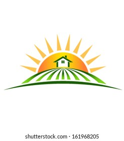 Vector Farm House with sun