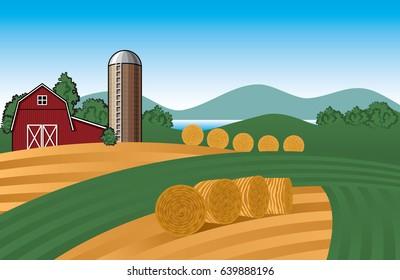 Vector Farm Landscape Illustration with Barn