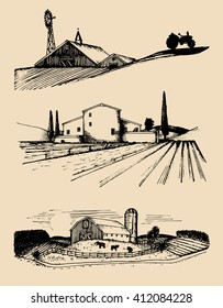 Vector farm landscapes illustrations set. Hand drawn countryside. Sketches of homesteads with windmill, silo, field, barn and tractor. Drawings of villa, peasant's house in fields.