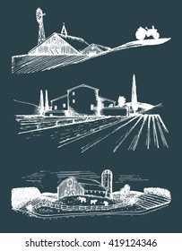 Vector farm landscapes illustrations set. Hand drawn countryside. Sketches of villa,  vineyard, agricultural homestead in fields and hills.