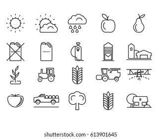 Vector farm line icons set for your design, herbicides, roundup
