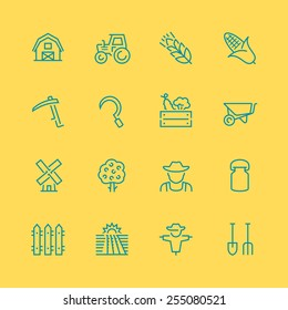 Vector farm related vector icon set, thin line style