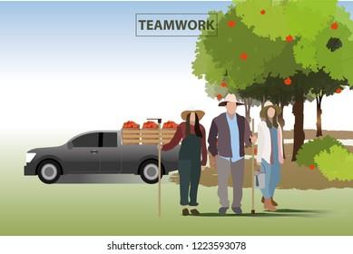 vector farmer family standind on garden background