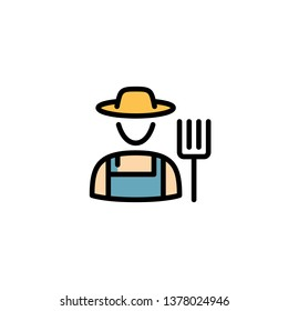 Vector farmer icon template. Line granger in hat illustration. Color flat symbol of farming man with a pitchfork. Local farm village worker on background