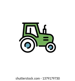 Vector farmer tractor icon logo template. Line village harvest truck illustration. Color sign background for agriculture business, local market. Farm organic food symbol with heavy machinery