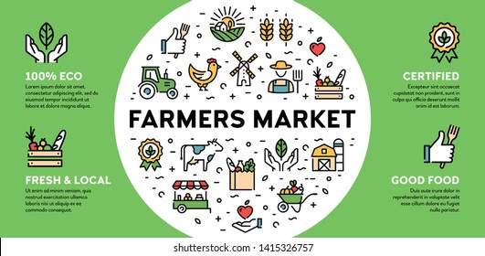 Vector farmers market icon illustration. Local farm banner with place for text. Eco, natural, certified logo signs for organic farming, food shop, healthy fresh products. Agriculture background design