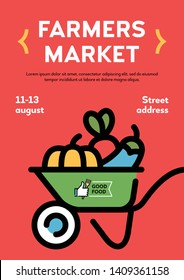 Vector farmers market poster illustration. Local farm event flyer background with wheelbarrow  and place for text. Line fruit and vegetable shop banner template. Food festival with organic products