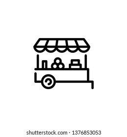 Vector farmers market stall icon template. Local farm food stand logo background. Line fruit and vegetable cart shop symbol illustration. Flat greengrocer store business with organic eco bio products