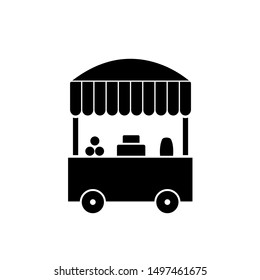 Vector farmers market stall icon vector. Line fruit and vegetable cart shop symbol illustration. Local farm food stand logo background.