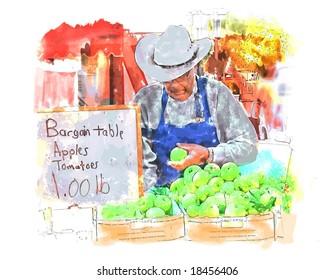 Vector Farmer's Market Watercolor Painting