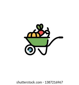 Vector farmers market wheelbarrow icon template. Line food cart symbol illustration. Farm greengrocery logo background with organic fruits and vegetables. Healthy natural product design concept