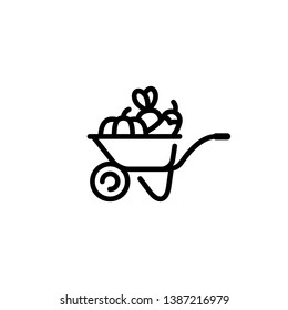 Vector farmers market wheelbarrow icon. Farm greengrocery logo background with organic fruits and vegetables. Line food cart symbol illustration Healthy natural product design concept
