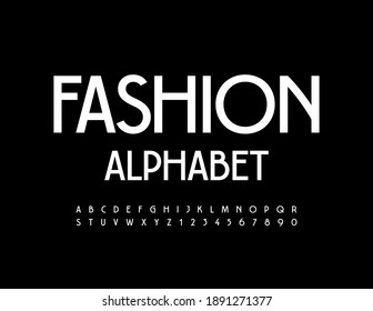Vector Fashion Alphabet. White minimal Font. Modern elegant Letters and Numbers set