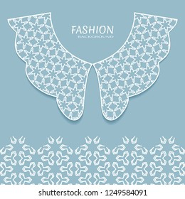 Vector fashion background. Vintage lace collar and decorative lace border with seamless texture. Geometric linear pattern in arabian style, isolated design elements, retro decoration