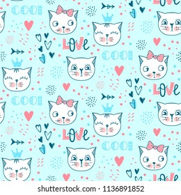 49b881e0387 Vector fashion cat seamless pattern. Cute kitten illustration in sketch  style. Cartoon animals background
