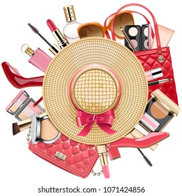 Vector Fashion Concept with Wicker Hat isolated on white background
