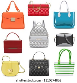 Vector Fashion Female Handbags isolated on white background