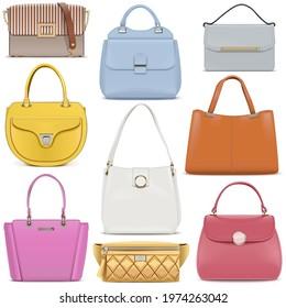 Vector Fashion Female Handbags Set 2 isolated on white background