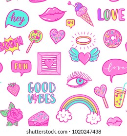 Vector fashion fun patches seamless pattern: rainbow, cloud, doughnut, lip, Good vibes, strawberry, cake, candy, heart. Pop art pink stickers for wedding, Valentine's Day, love prints background