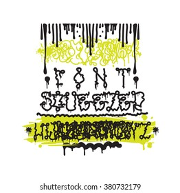 Vector Fashion Graffiti Font Hand Drawing Alphabet Design Elements In Black White