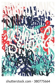 Vector fashion graffiti. Revolutions Hand drawing retro style font texture, design elements in black, white, blue, red