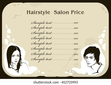 vector fashion hand drawn portrait girl man face silhouette beauty hairstyle hair salon illustration old paper design menu price