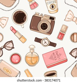 Vector fashion hand drawn seamless pattern with woman's accessories and cosmetics. Hipster background with bag, make up tools, coffee, glasses, hand watch and photo camera