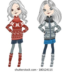 Vector fashion hipster girls in knitted sweaters with Norwegian seamless pattern