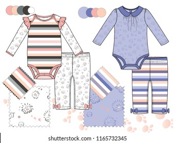 Vector Fashion Illustration of Baby Toddler Girl Outfits / Bodysuits and pants / Four Seamless patterns saved with Global Colors in Swatches Panel / Isolated flat sketches in separate layers