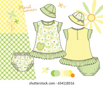 Vector Fashion Illustration of Baby Toddler Girl Outfits / Tops and Diaper Covers Front & Back, Sun Hats / Three Daisy Gingham patterns saved in Swatches Panel / Isolated flats in separate layers