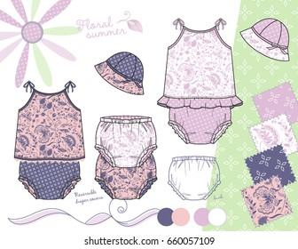 Vector Fashion Illustration of Baby Toddler Girl Outfits / Top with lace and ruffles, Diaper covers and Hats / Four repeat coordinated patterns saved with Global Colors in Swatches Panel