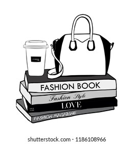 29cef50cd61 Cup coffee and woman bag, fashion magazines books. Hand drawn