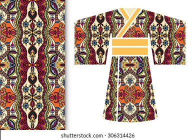 Vector fashion illustration, decorative stylized Japanese kimono ethnic clothes, fabric seamless floral pattern with repeating texture, elements for invitation or greeting card design.