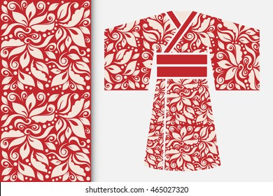Vector fashion illustration, decorative stylized Japanese kimono ethnic clothes and vertical seamless geometric pattern, repeating texture. Isolated elements for invitations, greeting cards design
