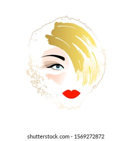 Vector fashion illustration. The face of a girl with yellow hair.