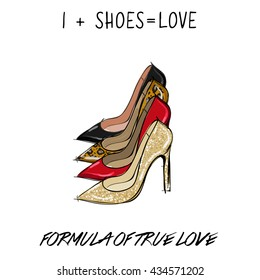 vector fashion illustration with female shoes with inscription