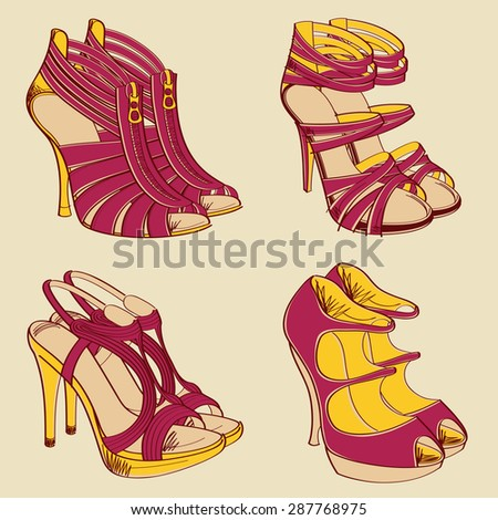 9baa52c3d0 A vector fashion illustration of four pairs of elegant high heels. Easy to  use separately