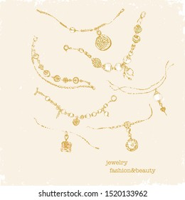 Vector fashion illustration. Hand drawn golden jewelry with gems and pearls. Charm bracelets, chains, necklaces.